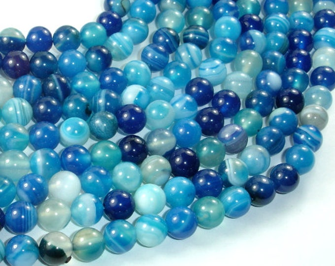 Banded Agate Beads, Striped Agate, Blue, 8mm Round Beads, 15 Inch, Full strand, Approx 48 beads, Hole 1mm, A quality (132054002)