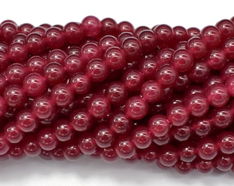 Jade Beads-Red, 6mm (6.3mm) Round Beads, 15 Inch, Full strand, Approx 64 beads, Hole 1mm (211054191)
