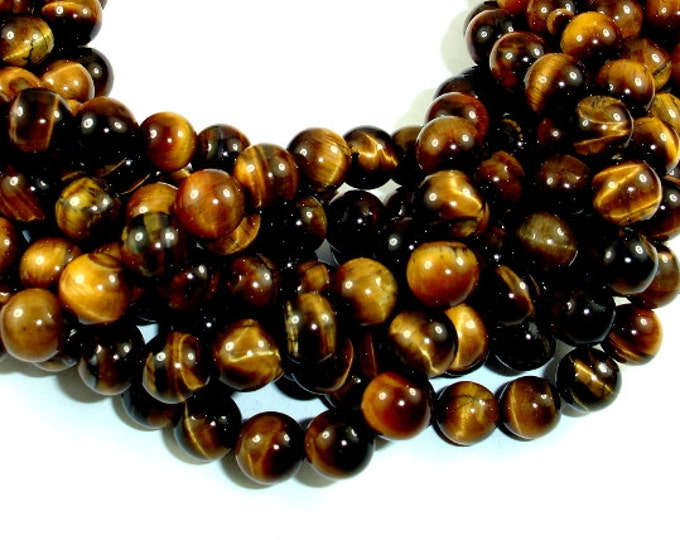 Tiger Eye Beads, 8mm (8.5 mm), 15.5 Inch, Full strand, Approx 48 beads, Hole 1 mm (426054003)