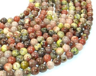 Spicy Jasper Beads, Plum Blossom Jasper, Round, 6 mm, 16 Inch, Full strand, Approx 65 beads, Hole 0.8 mm, A quality (288054017)
