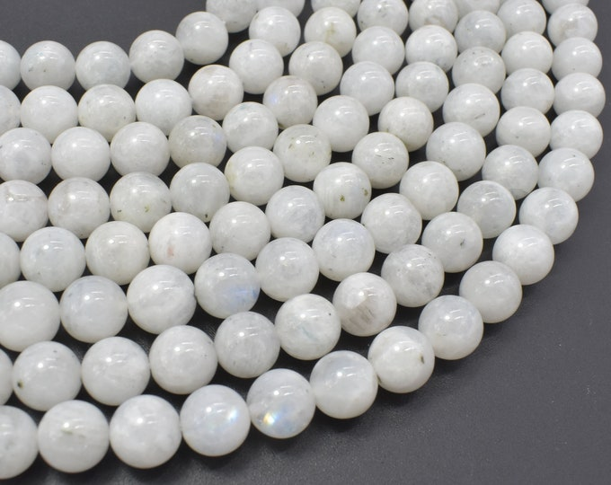 White Rainbow Moonstone Beads, 8mm Round Beads, 15.5 Inch, Full strand, Approx 46-49 beads, Hole 1mm (321054036)