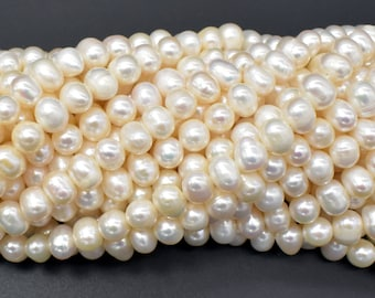 Fresh Water Pearl Beads-White, Approx 6-7mm Potato Beads, 14 inch, Full strand, Approx 60 Beads, Hole 0.6mm (232050029)