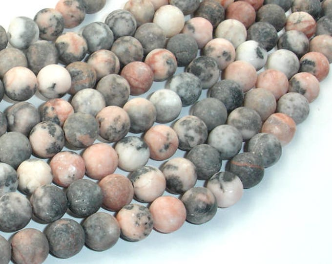 Matte Pink Zebra Jasper, 8mm(8.5mm) Round Beads, 15 Inch, Full strand, Approx 47 beads, Hole 1mm (352054006)
