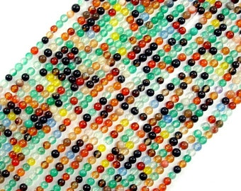 Agate Beads, Round, Multicolored, 2 mm, 15.5 Inch, Full strand, Approx 195 beads, Hole 0.4 mm, A quality (122054035)