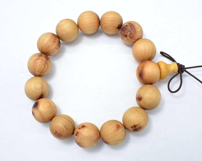 Cedar Wood Beads, Thuja Sutchuenensis, 15mm Round Beads, 8 Inch, 15 Beads, Hole 1.2mm, Mala Beads (011730004)