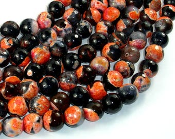 Agate Beads, Orange & Black, 10mm Faceted Round Beads, 15.5 Inch, Full strand, Approx 38 beads, Hole 1mm (122025311)