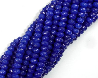 Dark Blue Jade, Approx 4 x 6mm Faceted Rondelle , 15 Inch, Full strand, Approx 95 beads, Hole 1 mm, A quality (211024015)
