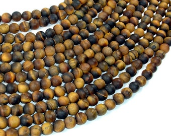 Matte Tiger Eye, 6mm(6.5mm) Round Beads , 15 Inch, Full strand, Approx 61 beads, Hole 1mm (426054028)
