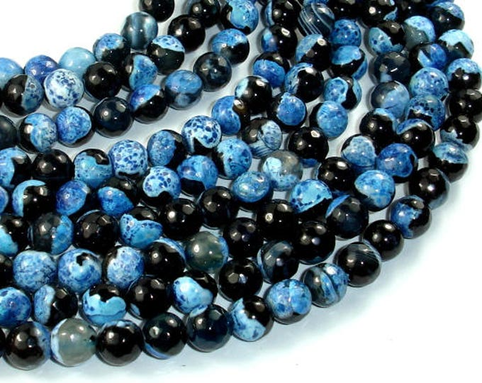 Agate Beads, Blue & Black, 8mm Faceted Round Beads, 15.5 Inch, Full strand, Approx 48 beads, Hole 1mm (122025300)