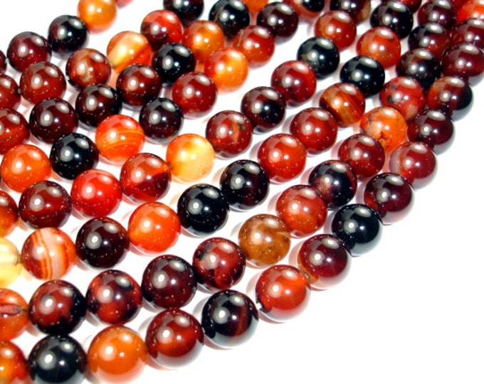 Sardonyx Agate Beads, Round, 10mm, 15 Inch, Full strand, Approx 38 beads, Hole 1 mm (397054004)