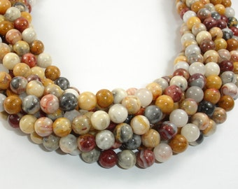 Crazy Lace Agate Beads, 8mm (8.5 mm) Round Beads, 15.5 Inch, Full strand, Approx 47 beads, Hole 1 mm, A quality (202054011)