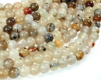 Agate-White, Gray, 8mm Round Beads, 15 Inch, Full strand, Approx 47 beads, Hole 1 mm (122054232)