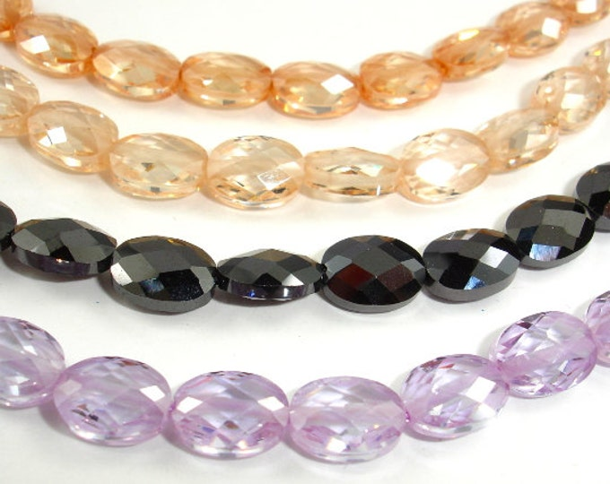 Cubic Zirconia Beads, CZ beads,  Faceted Oval, 6x8mm, 6 Inch, 1 strand, 19 beads, Hole 0.8 mm, A Grade (OS0608A)