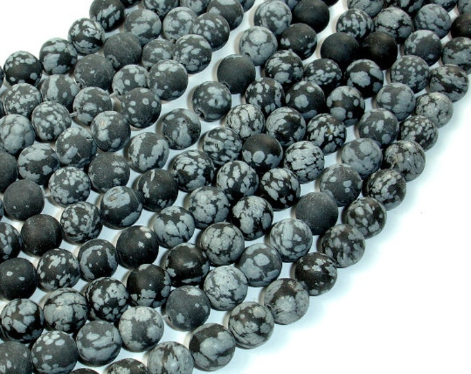 Matte Snowflake Obsidian, 8mm (8.3mm) Round Beads, 15.5 Inch, Full strand, Approx 46 beads, Hole 1 mm (410054009)