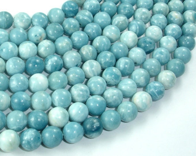 Larimar Quartz, 8mm Round Beads, 15.5 Inch, Full strand, Approx 49 beads, Hole 1mm (301054002)