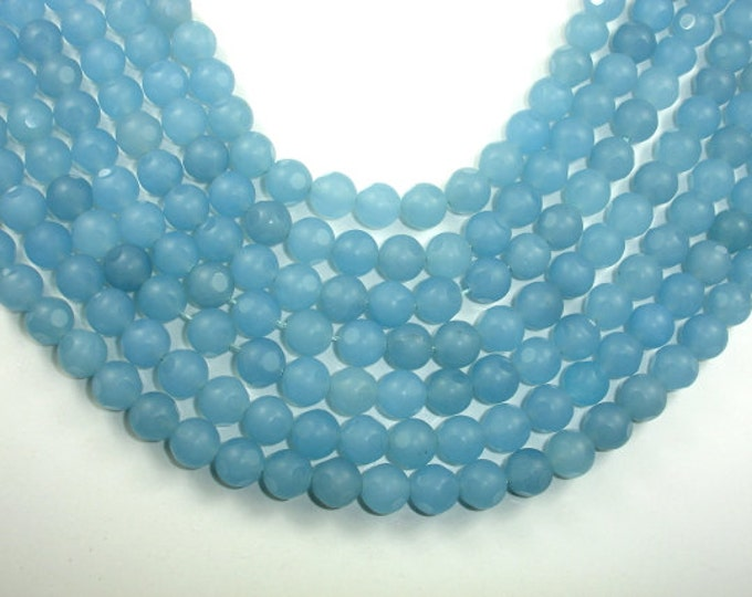 Matte Blue Dyed Jade Beads, Faceted Round, 10 mm, 15 Inch, Full strand, 38 beads, Hole 1 mm, A quality (211025008)