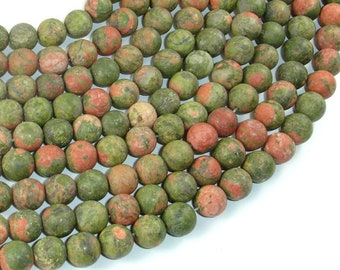 Matte Unakite Beads, 8mm (8.5mm) Round Beads, 15 Inch, Full strand, Approx 48 beads, Hole 1mm, A quality (429054009)