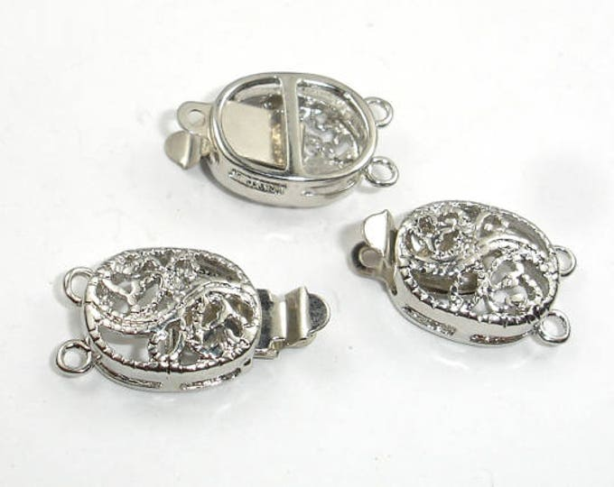 Oval Filigree Box Clasps- 1 and 2 strand , Rhodium Plated, 10x12mm, 4pcs (006854009)
