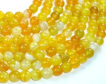 Banded Agate Beads, Yellow, 8mm Round Beads, 15 Inch, Full strand, Approx 47 beads, Hole 1mm, A quality (132054036)