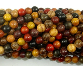 Mixed Wood Beads, 6mm(6.3mm) Round Beads, 25 Inch, Full strand, Approx 108 Beads, Mala Beads (011748001)