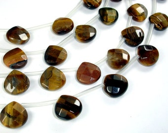 Yellow Tiger Eye Beads, 13x13mm Faceted Heart Briolette Beads, 15 Inch, Full strand, Approx 20 beads, Hole 1mm (426170001)