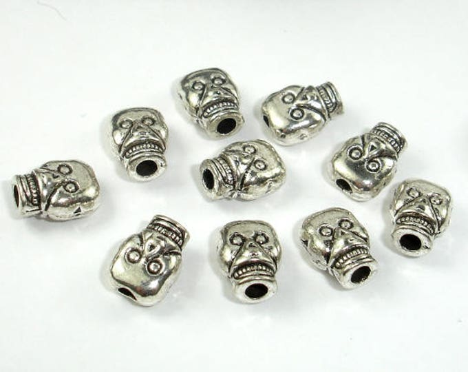 Skull Spacer, Zinc Alloy, Antique Silver Tone, 7x9x5mm, 30 pcs, Hole 2.2mm (006852057)