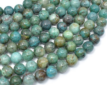 Chrysocolla-Natural , 10mm Round Beads, 16 Inch, Full strand, Approx 40 beads, Hole 1mm, A quality (196054021)