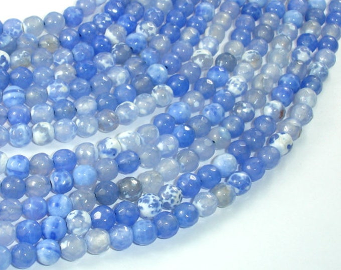 Fire Agate Beads, Blue & White, 6mm Faceted Round Beads, 14.5 Inch, Full strand, Approx 63 beads, Hole 1mm (122025308)