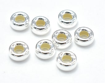 15pcs 925 Sterling Silver Beads, 4.5mm Rondelle Spacer, 2.2mm Thick, Hole 1.8mm (007914002)