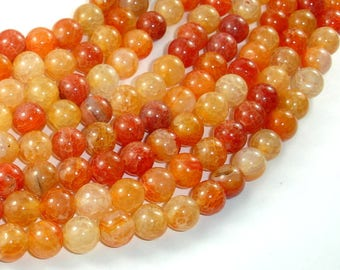 Dragon Vein Agate Beads-Orange, 8mm(8.3mm) Round Beads, 15.5 Inch, Full strand, Approx 48 beads, Hole 1mm (122054103)