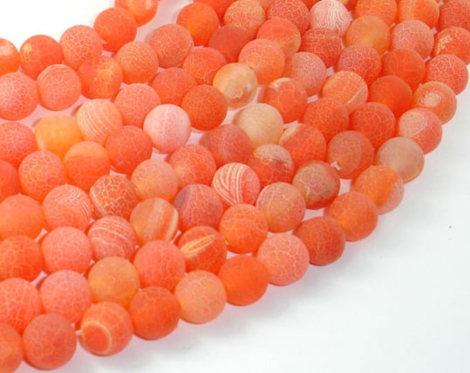 Frosted Matte Agate- Orange, 8mm Round Beads, 15.5 Inch, Full strand, Approx 49 beads, Hole 1 mm (122054238)