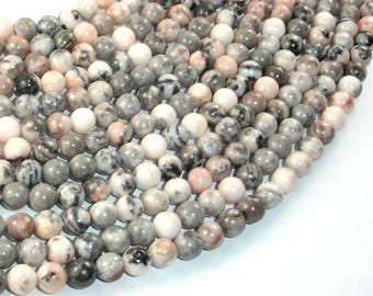 Pink Zebra Jasper, 6mm(6.3mm) Round Beads, 15.5 Inch, Full strand, Approx 64 beads, Hole 1 mm (352054004)