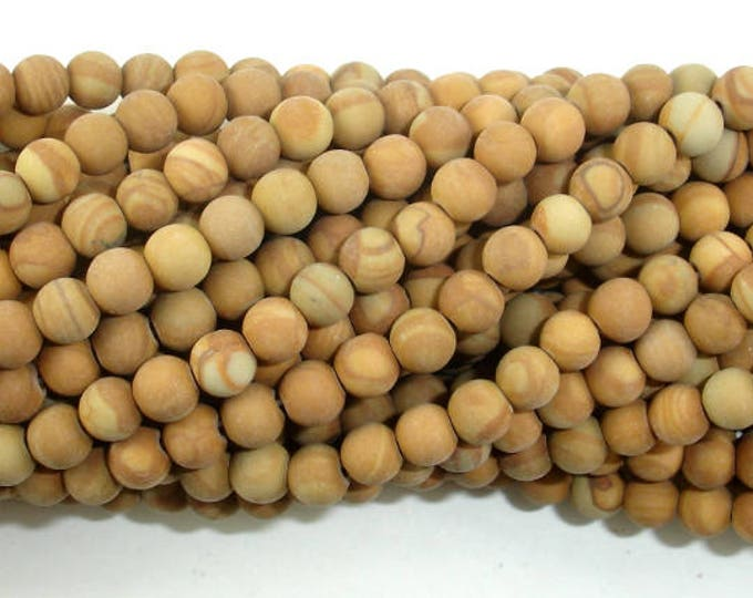 Matte Wood Jasper Beads, 4mm(4.3mm) Round Beads, 14.5 Inch, Full strand, Approx 92 beads, Hole 0.8 mm, A quality (437054011)