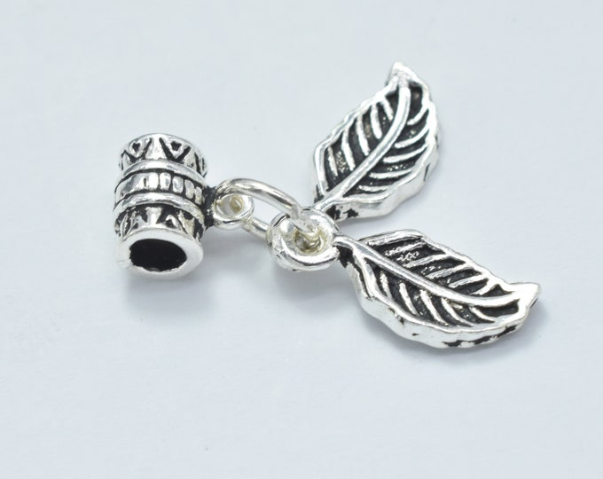 1pc 925 Sterling Silver Charm-Antique Silver, Leaf 6x14mm, Tube Bail Bead 5x6.5mm, Tube hole 3mm (007916011)
