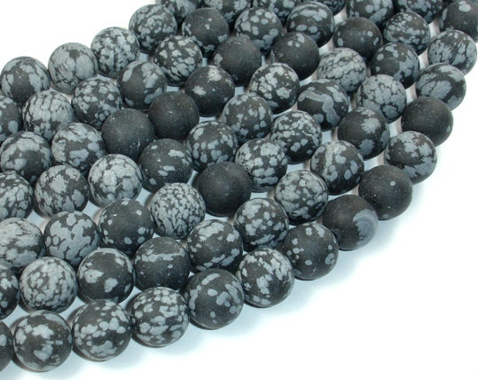 Matte Snowflake Obsidian, 10mm (10.5mm) Round Beads, 15 Inch, Full strand, Approx 38 beads, Hole 1 mm, A quality (410054010)