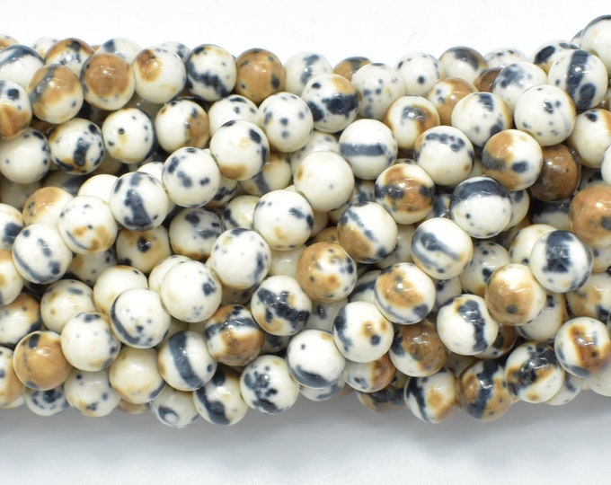 Rain Flower Stone, Creamy White, Black, 6mm (6.5mm) Round Beads, 15.5 Inch, Full strand, Approx 65 beads, Hole 1mm, A quality (377054048)