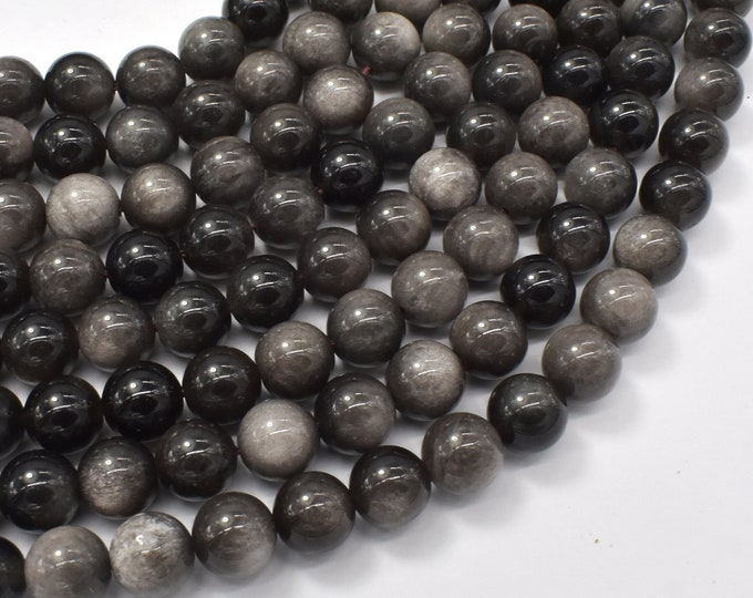 Silver Obsidian Beads, 8mm (8.4mm) Round Beads, 15.5 Inch, Full strand, Approx 48 beads, Hole 1mm (461054002)