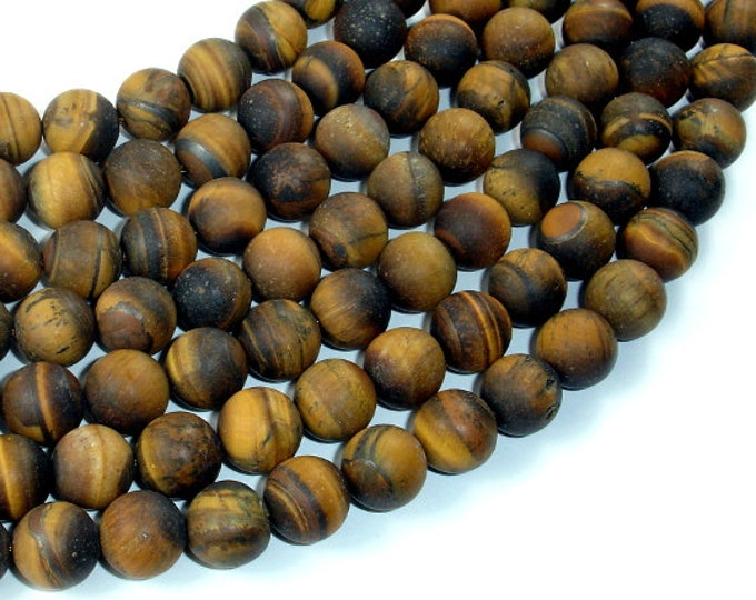 Matte Tiger Eye, 10mm Round Beads, 15.5 Inch, Full strand, Approx 38 beads, Hole 1mm (426054030)