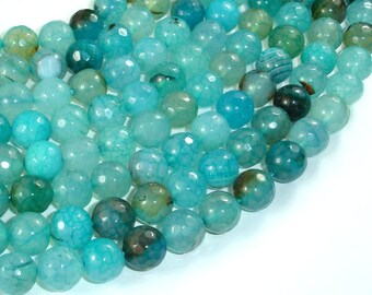 Light Blue Dragon Vein Agate Beads, 10mm Faceted Round Beads, 15 Inch, Full strand, Approx 38 beads, Hole 1mm (122025317)
