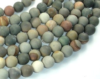 Matte Polychrome Jasper, 10mm(10.5mm) Round Beads, 15.5 Inch, Full strand, Approx 37 beads, Hole 1mm, A quality (317054007)
