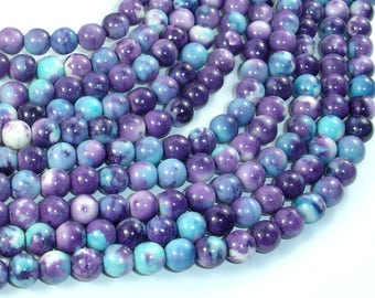 Rain Flower Stone Beads, Blue, Purple, 6mm (6.5mm) Round Beads, 15.5 Inch, Full strand, Approx 63 beads, Hole 1mm, A quality (377054031)