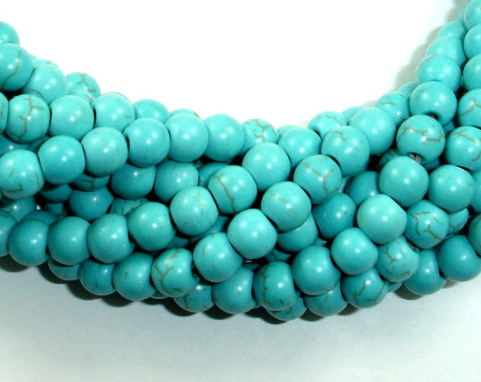 Howlite Turquoise Beads, Round, 6mm, 15.5 Inch, Full strand, Approx 73 beads, Hole 1.2 mm (213054002)