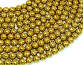 Hematite Beads-Gold, 8mm Round Beads, 16 Inch, Full strand, Approx 54 beads, Hole 1mm, AA quality (269054025)