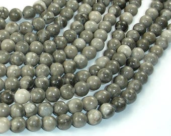 Black Fossil Jasper Beads, 6mm(6.3mm) Round Beads, 15.5 Inch, Full strand, Approx 64 beads, Hole 1mm, A quality (220054014)