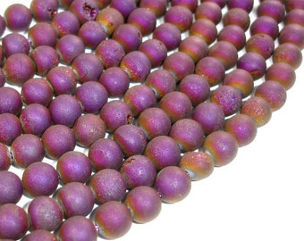 Druzy Agate Beads, Purple Geode Beads, 8mm (8.5 mm) Round Beads, 15 Inch, Full strand, Approx 45 beads, Hole 1 mm (122054175)