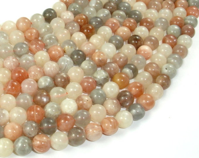 Peach / Gray / White Mixed Moonstone, 6mm (6.3mm) Round Beads, 15 Inch, Full strand, Approx 63 beads, Hole 0.8mm (321054025)