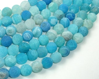 Frosted Matte Agate - Sea Blue, 10mm Round Beads, 14.5 Inch, Full strand, Approx 38 beads, Hole 1 mm (122054201)