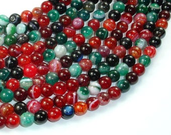 Banded Agate Beads, Multi Colored, 6mm Round Beads, 15 Inch, Full strand, Approx 62 beads, Hole 1mm, A quality (132054024)