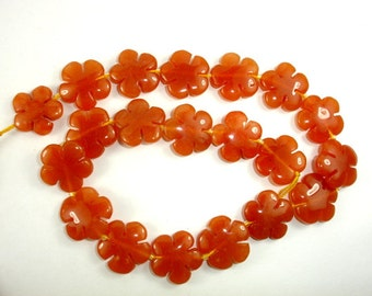 Red Aventurine Beads, Flower, 20 mm, 15.5 Inch, Full strand, 20 beads, Hole 1 mm (367036001)