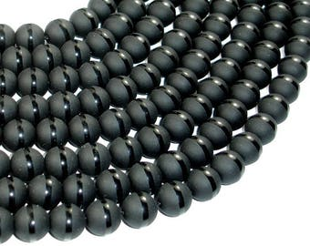 Matte Black Onyx Beads, 10mm Round Beads, With Polished line, Full strand, 15 Inch, Approx 40 beads, Hole 1mm (140054030)